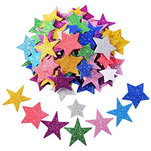 Foam Star (BBTO Glitter Foam Stickers Self-adhesive Star Stickers for Birthday Graduation Party Decor, Assorted Colors and Sizes, 5 Sets)