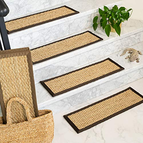 NaturalAreaRugs 100% Natural Fiber Half Panama, Seagrass Sage, Handmade Stair Treads Carpet Set of 13 (9