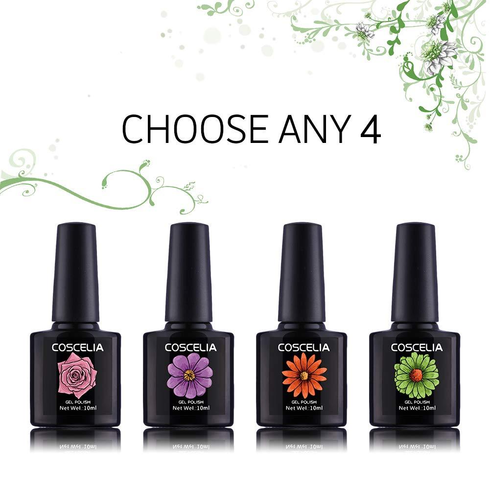 Coscelia Soak Off Gel Nail Polish Sets Glitter UV LED Gel Polish Set  Manicure Varnish Kit 10ml,Pick any 4 Colors