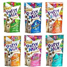 Friskies Party Mix Crunch Variety Pack (6 Fun Flavors 2.1 oz each) - Picnic, Beachside, Cheezy Craze, Original, California Dreamin\', and Meow Luau