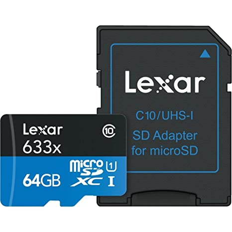 Lexar Lsdmi64Gbbe U633 Tarjeta De Memoria con SD Adaptador, 64 GB, Negro