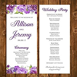 Wedding Program Purple Floral with ANY Wording Printed Flowers