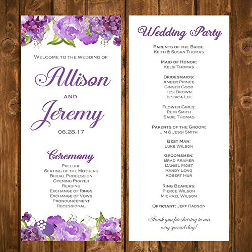 (Wedding Program Purple Floral with ANY Wording Printed Flowers )