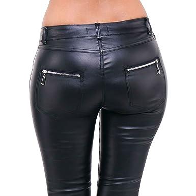 976aefbf223d5 Pantalon Huilé Skinny Femme Jeans Noir Slim Cuir Stretch Neuf Taille S M L  XL (XL