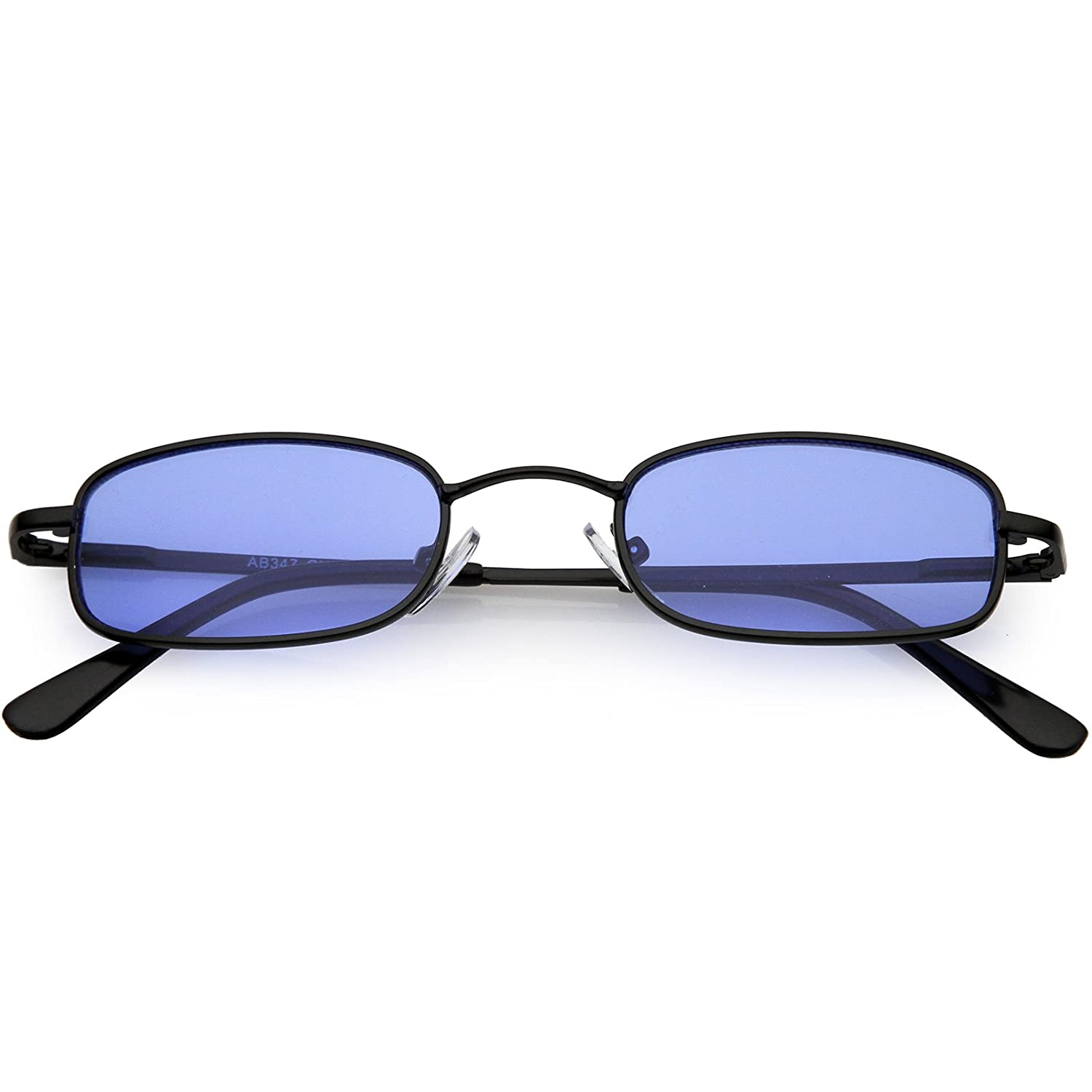 85ab2469b8bb Amazon.com  sunglassLA - 90 s Small Rectangle Sunglasses For Women Men  Color Tinted Lens Metal Slim Arms 45mm (Black Blue)  Clothing
