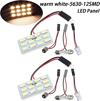 Pack de 2 T10/BA9S Festoon adaptadores DC 12/V TABEN blanca c/álida 5630/12-SMD LED placa de luz auto coche interior lectura luz de c/úpula de Panel Techo Techo Interior Con Cable De La L/ámpara