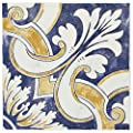 "SomerTile WAEBOUMO Loire Ceramic Wall Tile, 7.875"" x 7.875"", White/Blue/Yellow"