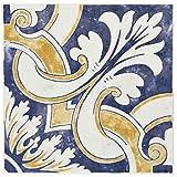 SomerTile WAEBOUMO Loire Ceramic Wall Tile, 7.875'' x 7.875'', White/Blue/Yellow