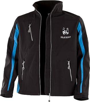Polar Husky® Hombre de chaqueta de softshell con forro interior de forro polar, negro/azul: Amazon.es: Deportes y aire libre