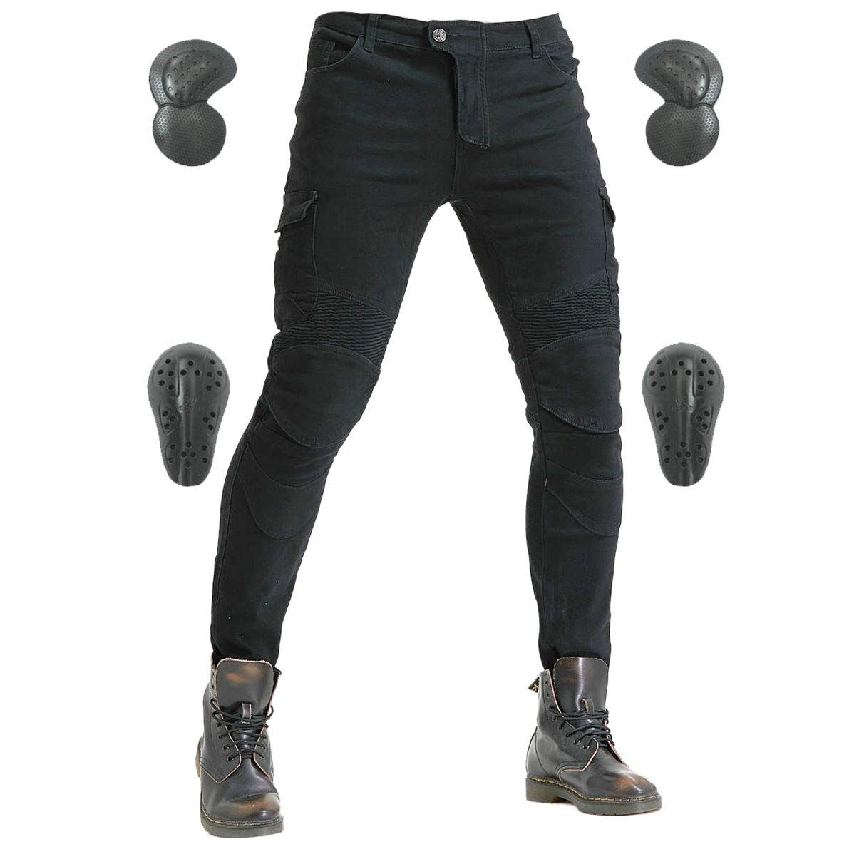 Men's Motorcycle Riding Pants Denim Jeans Protect Pads Equipment with Knee and Hip Armor Pads VES6 (Black, XL=34)