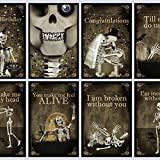 Set of 8 Greeting postcards,skull,gothic,art,skeleton,Halloween,Happy birthay,i love you,zombie,walking dead,gift,congratulations