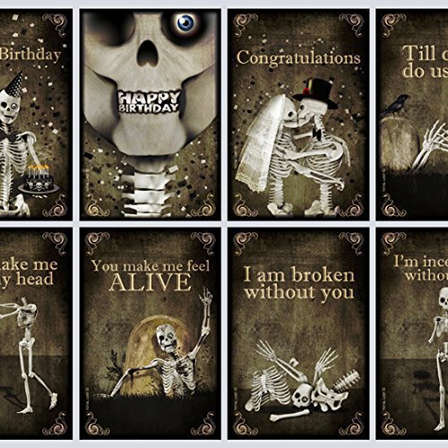 Set of 8 Greeting postcards,skull,gothic,art,skeleton,Halloween,Happy birthay,i love you,zombie,walking dead,gift,congratulations by TOTAL LOST