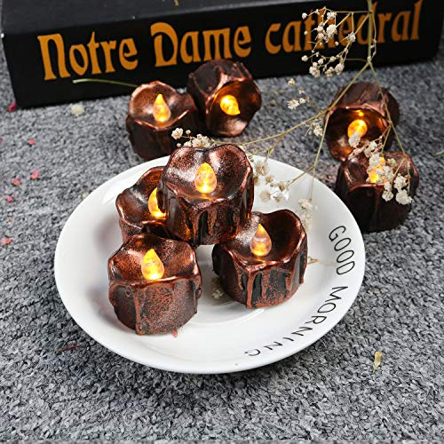 (24 Pack Wax Led Tealight Candles for Halloween Party Flicker Amber Battery Operated Tealights Novelty Black Candles for Wedding Centerpiece Small Vintage Candles Christmas Thanksgiving Home)