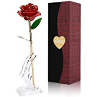 Cozime 24K Placcato Oro Rosa Regalo con Supporto, Anniversario Regalo per lei, San Valentino, Anniversario di Matrimonio, Compleanno, Regalo per Fidanzata, Moglie, Nonna, Mamma