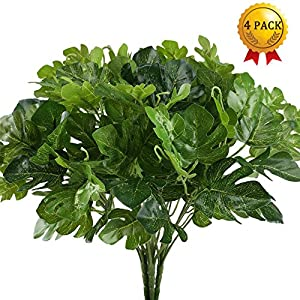 Artificial Plants, Nahuaa 4PCS UV Protected Silk Tropical Palm Leaves Fake Greenery Shrubs Faux Bush Bundle Indoor Outdoor Home Kitchen Office Windowsill Table Centerpieces Arrangements Spring Decorat 117