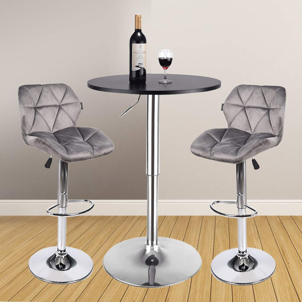 3 Pieces Bar Table Set 24 inch Round Height Adjustable Steel Dining Bistro Kitchen Table with 2 Pieces Velvet Bar Stools (Grey Barstool + Black Pub Table)