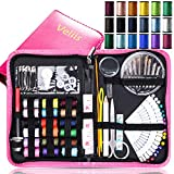 Sewing Kit Bundle with Scissors, Pearl Needle, Thread, Needles, Tape Measure, Carrying Case and Accessories for Domestic/Travel(Pink)