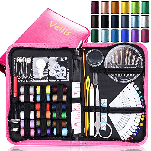Best Deals! Sewing Kit Bundle with Scissors, Pearl Needle, Thread, Needles, Tape Measure, Carrying C...
