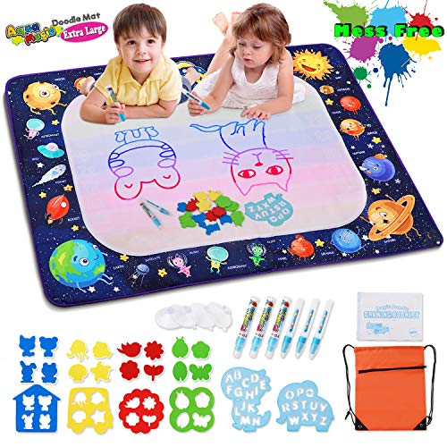 Water Drawing Mat Aqua Magic Doodle Mat Mess Free Aqua Drawing Pad for 2 Year Old Girls, Educational Toys Gifts for Toddlers Girls Boys Age 2 3 4 5 6 7 8 Year Old (Upgraded Version)