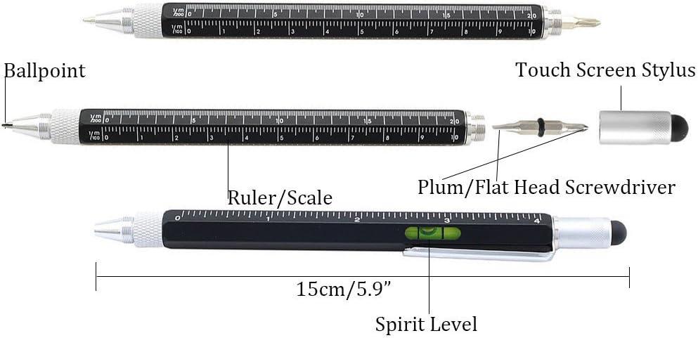 BLACK TECH TOOL PEN//SCREWDRIVER//SPIRIT LEVEL//RULER//MULTI TOOL//4342