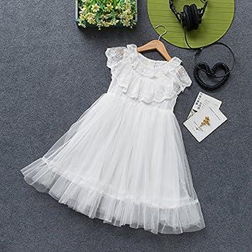 XIAOHUAHUA Los Niños Niñas Niños Niñas Vestido Largo Encaje Blanco Chaleco Sin Mangas De Verano Falda