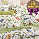Brandream Duvet Quilt Cover Queen Size, Country Style Bedding Set Colorful Floral Branches Drawing of Summer Blossoms (Queen,Green)