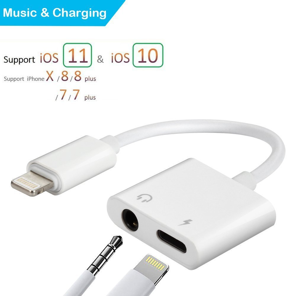2 in 1 Lightning Audio Charger Adapter for iPhone X 8 7 6 Plus Converter to 3.5 mm Earphone Adapter Accessories Headphone Audio Splitter and Charging Adaptor Support Audio Charge Compatible iOS 11