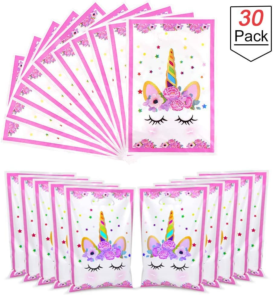ENTHUR 30 Pack Plastic Unicorn Party Favor Gift Bags Unicorn Gifts Bags Goodie Gift Toy Treat bags for Kids Unicorn Birthday Party Supplies