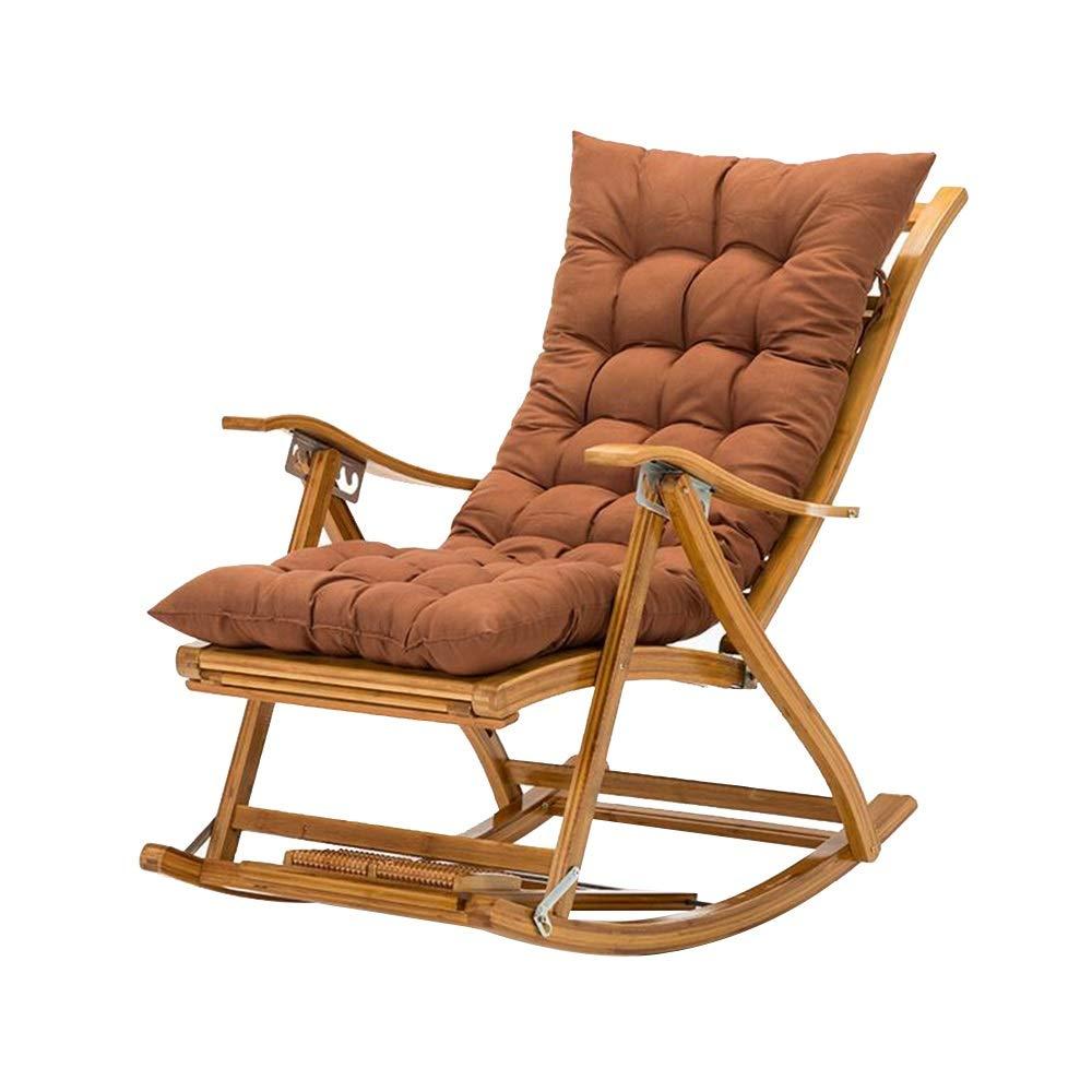 Bseack ロッキングチェア、フットレストのバルコニーのデッキのラウンジチェアと調節可能な170°リクライニング角度の純木の折る昼寝の椅子 (色 : A) B07PLK2XBT A