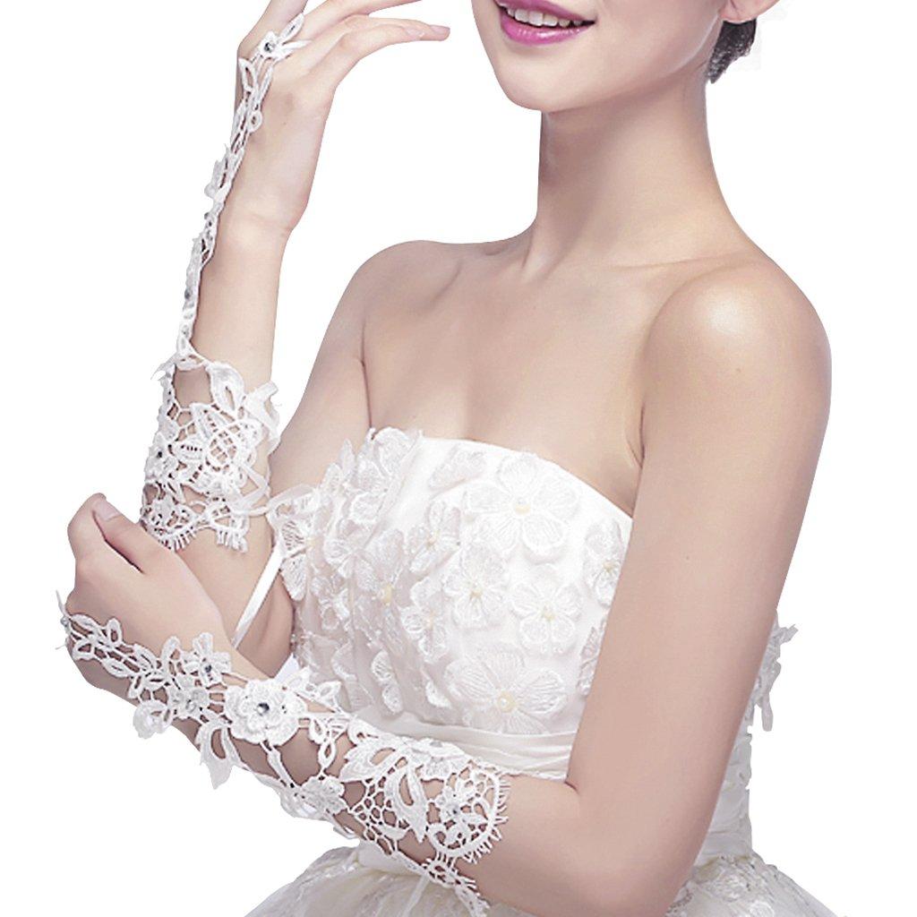 Mitaine Gants de Mari/ée en Dentelle Exquis D/écor Faux Diamants Longueur Coude Tulle Blanc El/égant Avec Strass Paillettes Accessoire Robe de Mariage F/ête Soir/ée Op/éra Chic