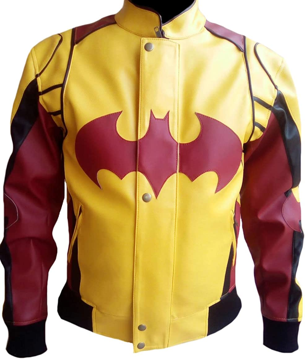 Magnam Plus Mens Fashion Yellow n Red Bomber Style Leather Jacket