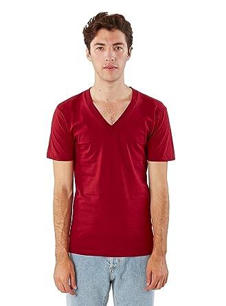 American Apparel Men Fine Jersey V-Neck T-Shirt Size S Cranberry