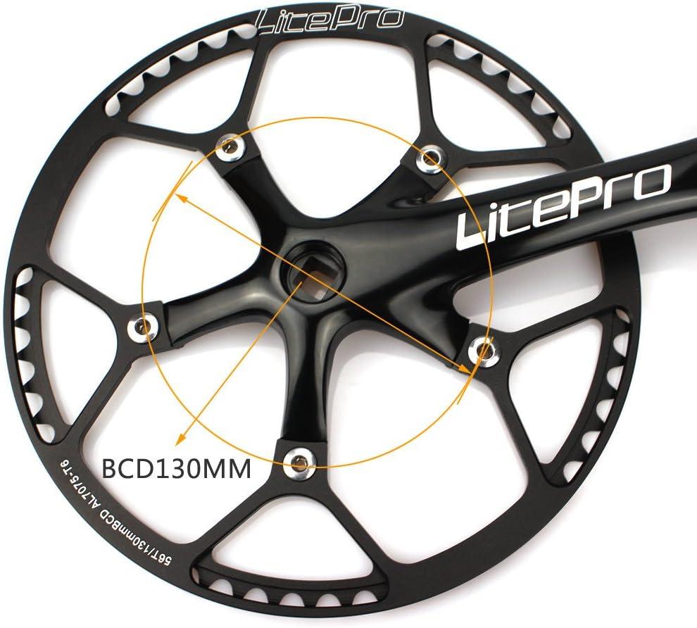 170/mm, Noir V/élo pliable P/édalier 53T 130/BCD Litepro Single Speed Ensemble de manivelle avec housse de protection pour Single Speed V/élo pliable Track Pignon Fixe Manivelle de v/élo