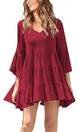 e23908039411 Jescakoo Womens Pleated Dresses 3 4 Sleeve Bell Sleeve V Neck Dress with  Flare Wine