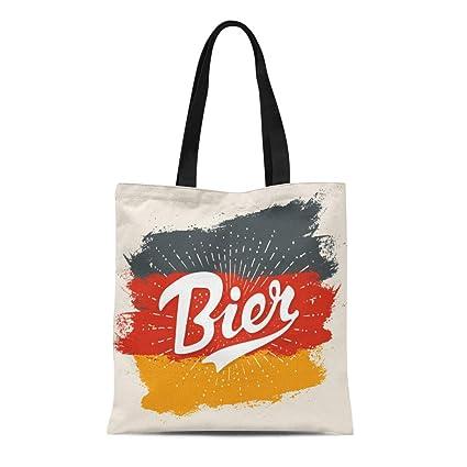 d50545962e21 Amazon.com: Semtomn Canvas Tote Bag Lettering Bier on Germany Flag ...