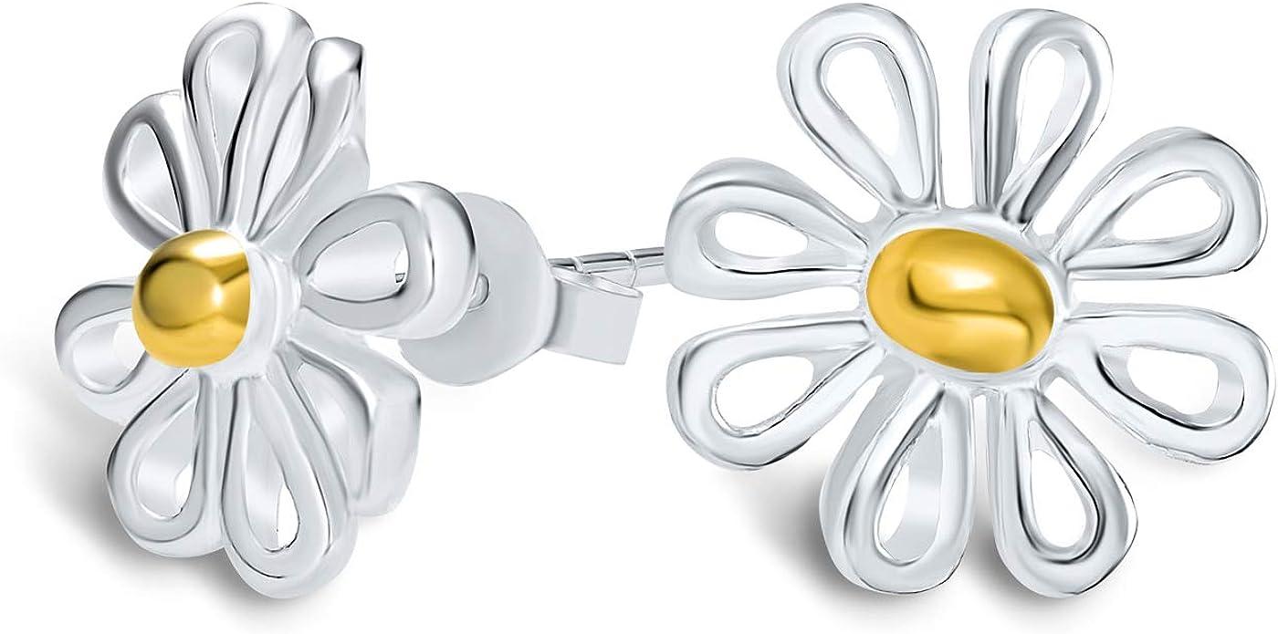 tiny daisy stud earrings antique gold