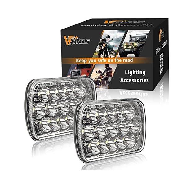 2Pcs Partsam 45w Rectangle 7x6 Led Headlights Pair 6054 Led Headlight 5x7 Led Headlights 7x6 HiLow Led Sealed Beam Chevy S10 H4 Plug H6054 Headlights H5054 6052 For Jeep Wrangler YJ Xj Cherokee Truck