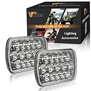 2Pcs Partsam 45w Rectangle 7x6 Led Headlights Pair 6054 Led Headlight 5x7 Led Headlights 7x6 Hi/Low Led Sealed Beam Chevy S10 H4 Plug H6054 Headlights H5054 6052 For Jeep Wrangler YJ Xj Cherokee Truck