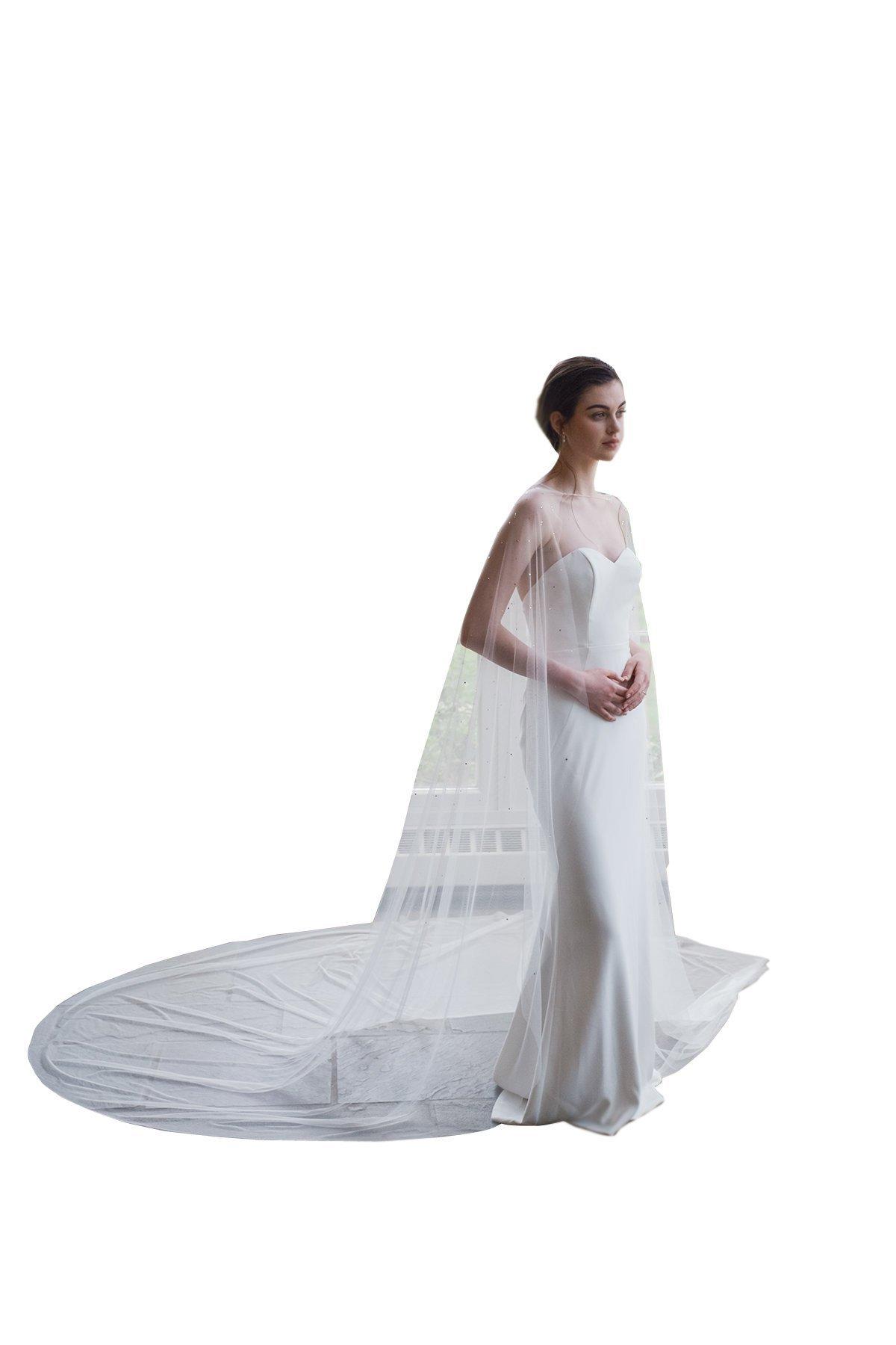 kelaixiang Elegant Tulle Wedding Cape Lace beading 3M Bridal Capes Wedding Jacket (3meters, white)