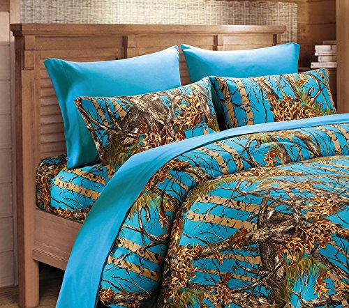 (20 Lakes Microfiber 6 Piece Hunter Sea Breeze Blue Camo Rustic Bed Sheet Set & Pillowcases (King, Sea Breeze))
