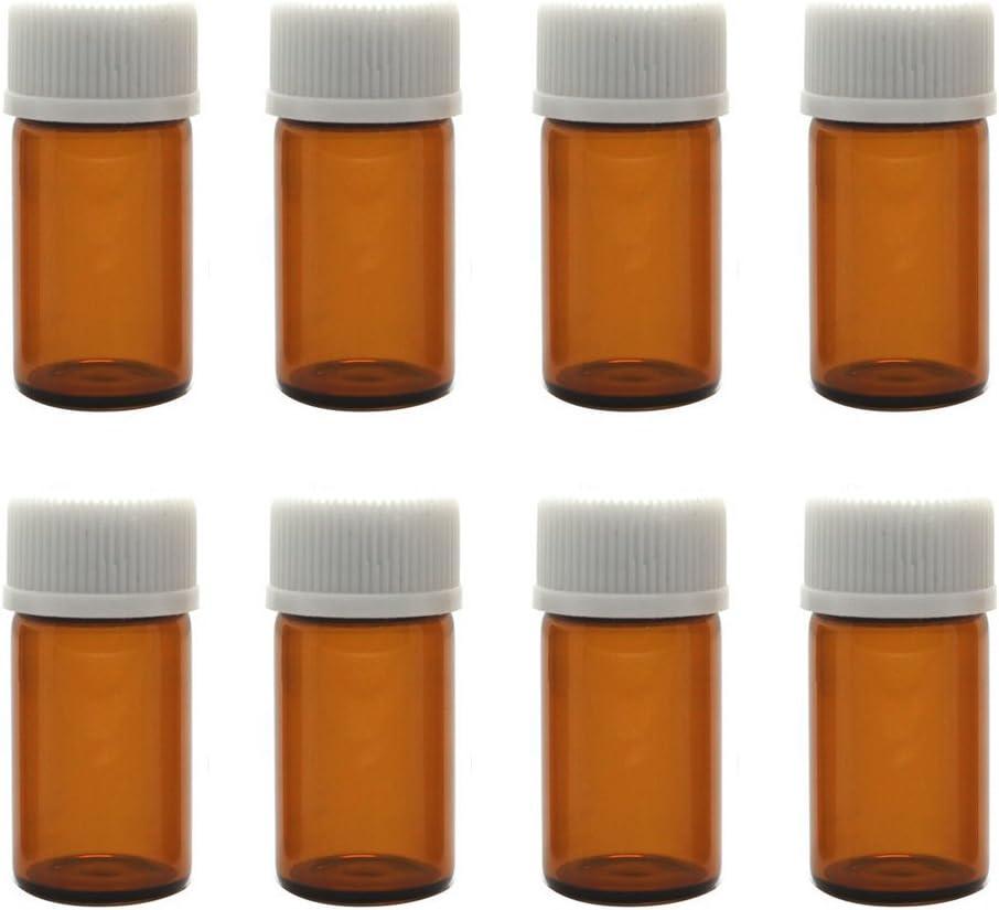 12pcs bouteilles de flacons d/échantillon dhuile essentielle de verre ambre en verre ambre avec bonnet en spirale blanc et r/éducteur dorifice 3ml