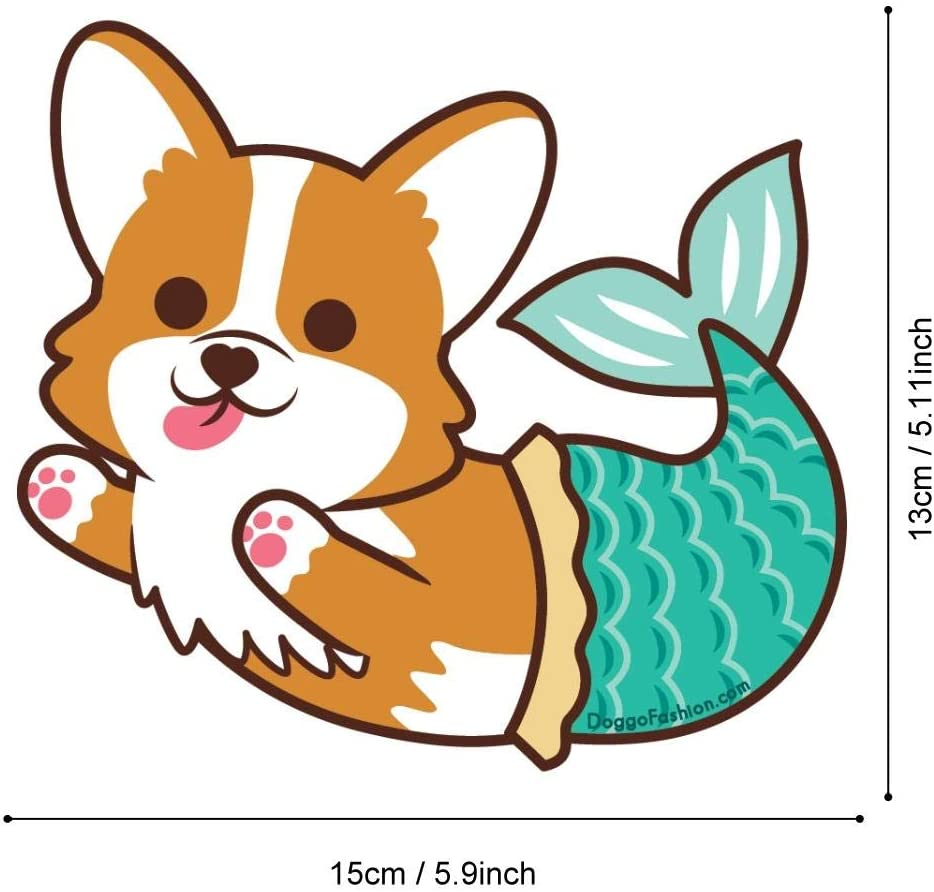 "DOGGOFASHION Corgi Mermaid in Car Magnet/Auto Truck Decal Magnet Waterproof UV Large 5.9/"" x 5.11/"""