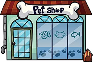 Leowefowa 5x3ft Cartoon Pet Shop Storefront Backdrop Vinyl Boy 1st Birthday Party Photography Background School Play Background Pets Photo Booth Props Child Baby Slumber Party Banner