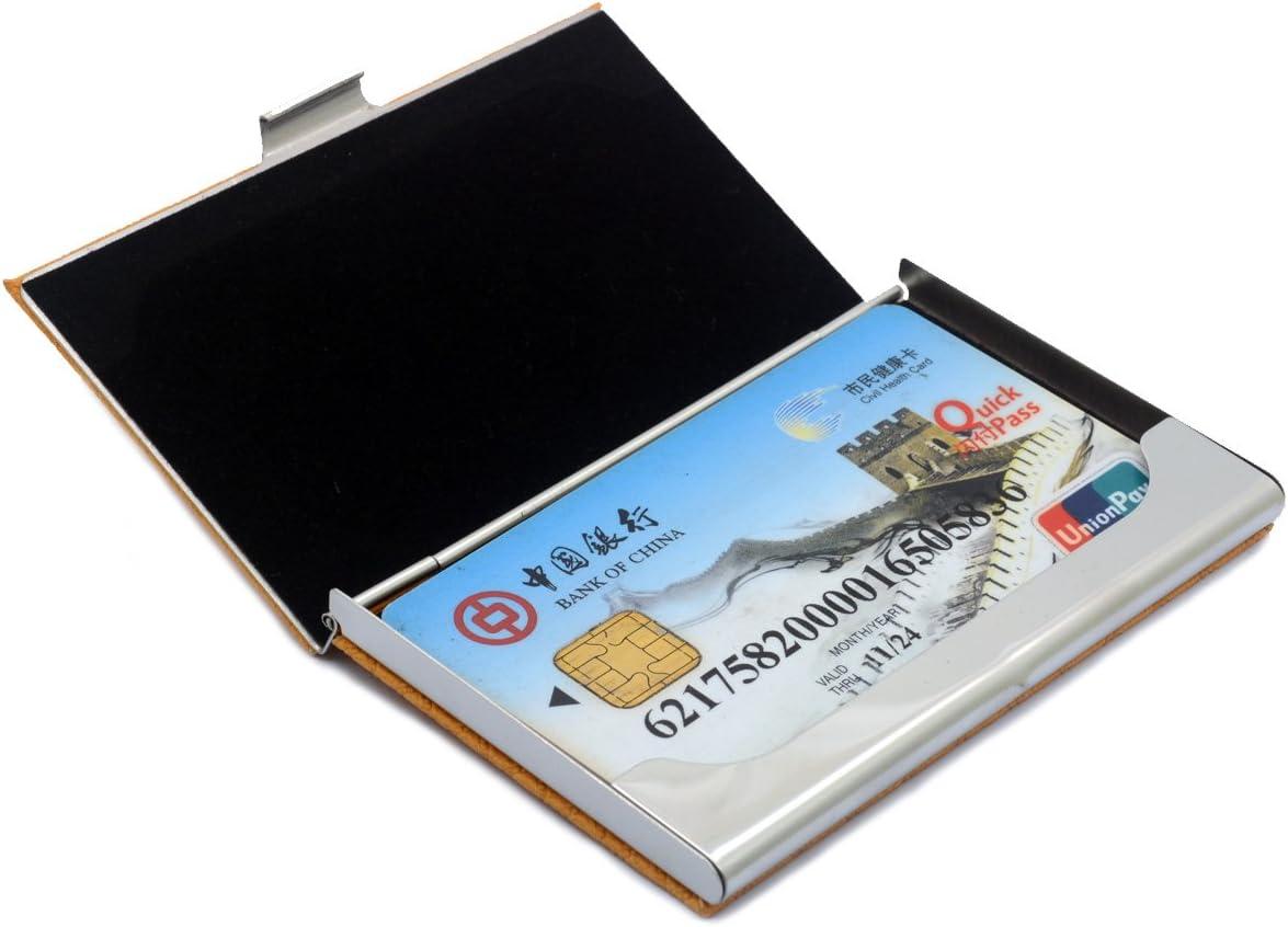 Coffee-02 Bolsillo de la tarjeta de visita de cuero de acero inoxidable en relieve tarjeta de cr/édito titulares de la tarjeta de negocios organizador de la tarjeta con franela forrado