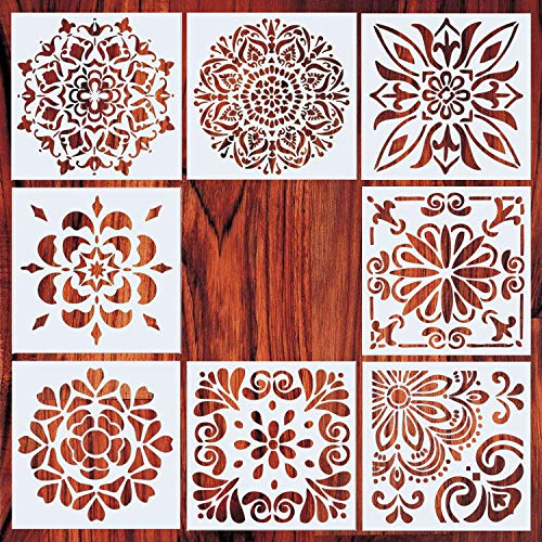 AxPower Mandala Painting Stencils Reusable Stencil Laser Cut Painting Template Floor Wall Tile Fabric Furniture Stencils, Set of 8 (6x6 inch)