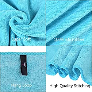 "Jml Bath Towel, Microfiber 2 Pack Towel Sets (30"" x 60"") - Large Size, Extra Absorbent, Quick Drying & Antibacterial, Multipurpose Use as Bath Fitness Towel, Sports Towels, Yoga Towel, Aquamarine"