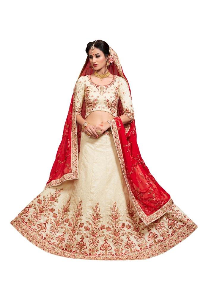 EthnicWear New Beautiful Wedding Party Sangeet Wear Embroidery Art Silk Off White Indian Women Lehenga Choli Chania Choli