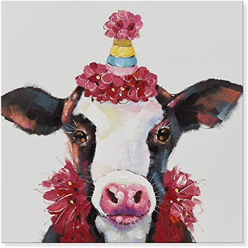 SEVEN WALL ARTS -Modern Abstract Cow Animal Painting Cow in Birthday Party Cattle Wall Decor Decoration Home Decor for Living Room Stretched and Framed Ready to Hang 32 x 32 Inch