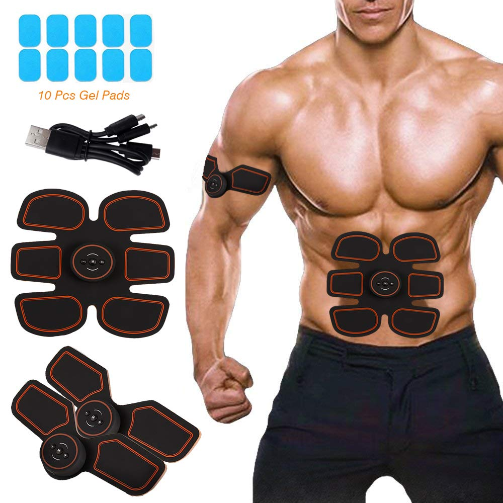 Intee ABS Stimulator Muscle Toner - EMS Abdominal Toning Belt, Smart Fitness Training Device, Home Body Gym Workout Equipment for Men and Women, Arm and Leg Trainer, Office,10pcs Gel Pads