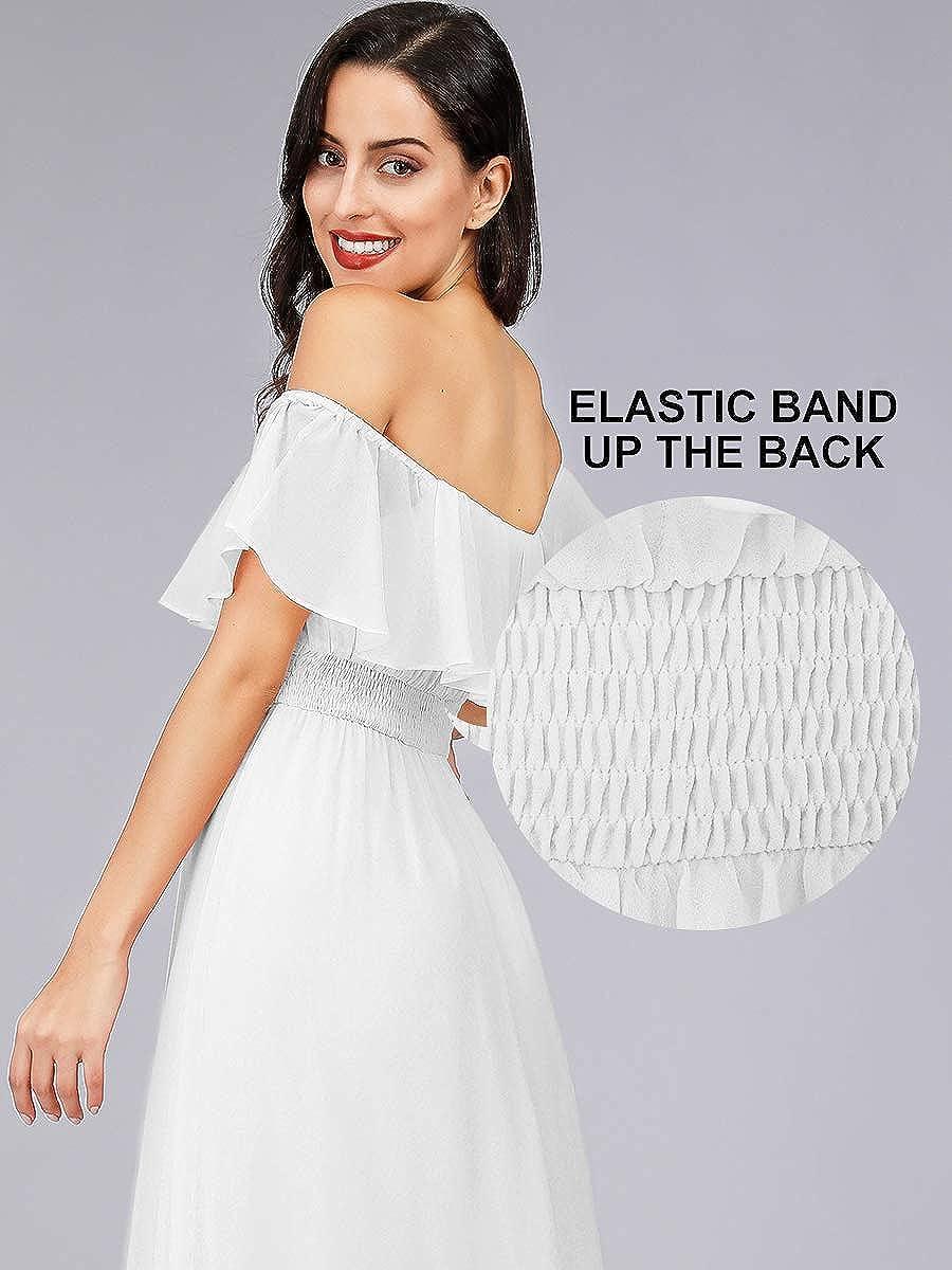 Ever-Pretty Vestito da Cerimonia Donna dalla Spalla Linea ad A Chiffon con Spacco con Volantes Stile Impero Lungo 00968